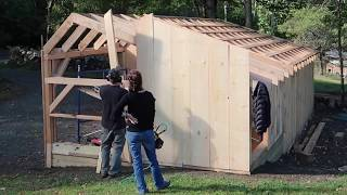 TIMELAPSE- Couple BUILDS Post & Beam Shed KIT in 20 Minutes Bought OFF the INTERNET