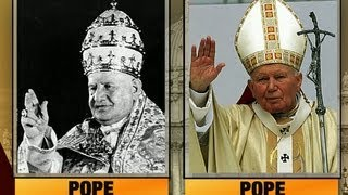 Two popes to become saints as two popes look on  4/25/14  (Vatican)