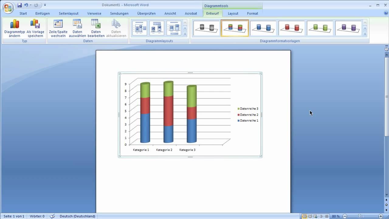 Word 2007  Diagramme Erstellen Und Bearbeiten