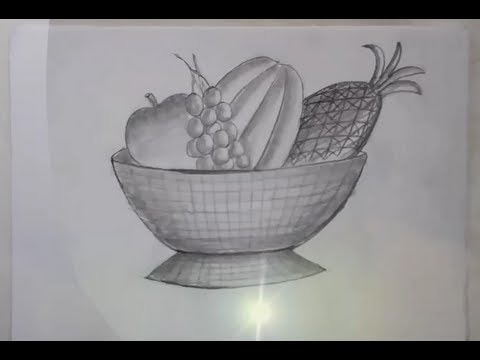 Bowl of Fruit Drawing Drawing of a Fruit Bowl