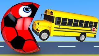 Learn Colors with PACMAN and 3D Soccer Ball School Bus Street Vehicle for Children