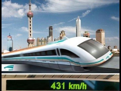 Летающий поезд Маглев (Maglev) из центра Шанхая в пригородный аэропорт за 7 минут http://24magnet.ru