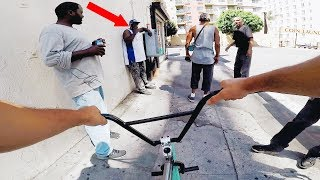 RIDING BMX IN LA COMPTON GANG ZONES 2 (CRIPS & BLOODS)
