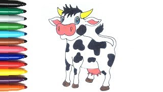 Drawing Animals For Children   How to Draw Cow   let's learn color