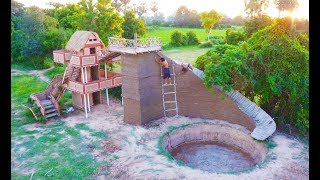 Build Round Swimming Pool & Three Story Mud House With Water slide  Part 2