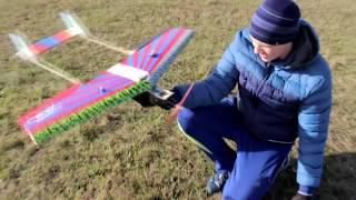 Неудачный взлёт. Падение радиоуправляемого самолета.