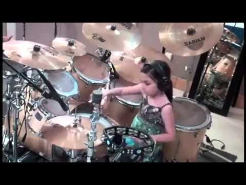 Little Boy Playing Drums Little Girl Playing Drums