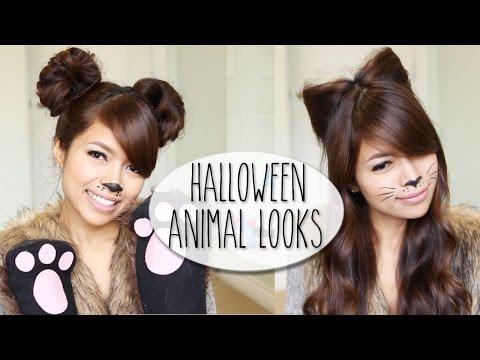DIY Halloween Costume Ideas | Bear & Cat Ears Hairstyle & Makeup Tutorial