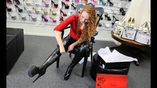Unboxing Pulling On Pleaser Black Faux Leather 7 Inch Thigh High Boots