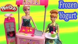 Frozen Fever Queen Elsa Princess Anna Disney Barbie Doll Malibu Ave Yogurt Playdoh Food Playset