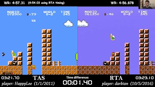 Super Mario Bros. TAS vs. RTA former World Record (4:56.878 by darbian)