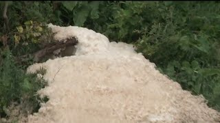Officials still working to identify foamy substance leaking from ground in Melvindale