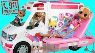 Barbie Dolls Call 911 Emergency Ambulance with LOL JOJO SIWA Care Clinic School