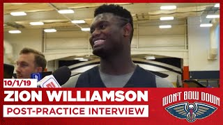 Zion Williamson After 1st Pelicans Practice | New Orleans Pelicans