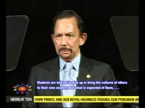 His Majesty the Sultan of Brunei delivers a titah during his visit to Canberra, Australia