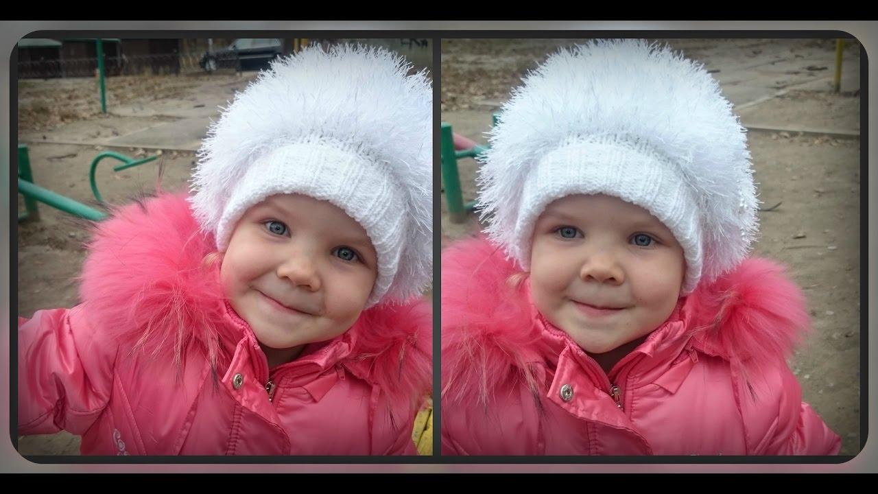 Связать детские шапочки на девочек спицами