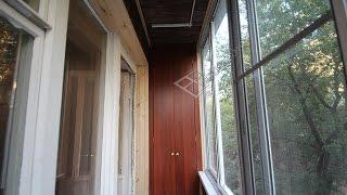 Максимус окна - пример балкона в хрущёвке с отделкой деревом.
