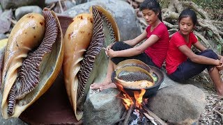 Cooking The large snail with Spicy sauce for Food forest - Cook Big snail and Eating delicious Ep 6