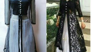 Download Designer long dress with open front jacket| front slit kurti cutting and stitching 3Gp Mp4