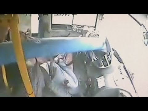 Bus crash: Amazing video of lamp post smashing through windscreen