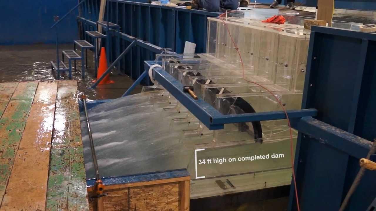 1 30 scale model helps corps test folsom dam 39 s 39 new dam 39 youtube - Water kamer model ...