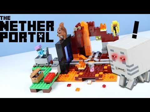 LEGO Minecraft The Nether Portal Speed Build Toy Review 2018