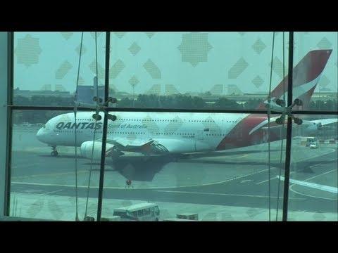 QANTAS AIRLINES- PUSH BACK AT DUBAI.