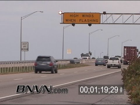2/3/2006 Skyway Bridge, St. Petersburg Florida Footage Windy Traffic