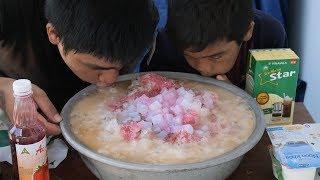 Làm Chậu Đá Bào Sữa Chua Khổng Lồ Mát Lạnh | TQ97