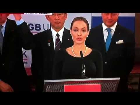 Angelina Jolie speaks at G8 conference against sexual violence...
