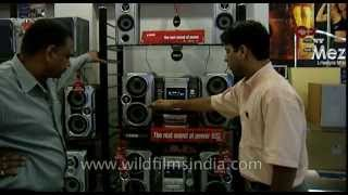 Archival footage of Sony music showroom in India