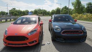 Forza Horizon 4 - 2018 Mini Countryman JCW vs 2014 Ford Fiesta ST - Highway Drag Race