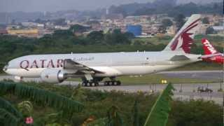 [ HD ] Qatar Airways B777-2DZ/LR at Guarulhos GRU SBGR