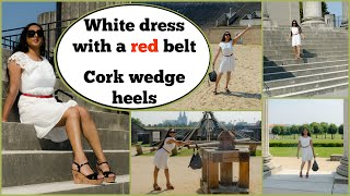 Crossdresser - white dress with red belt in high heels cork wedges | NatCrys