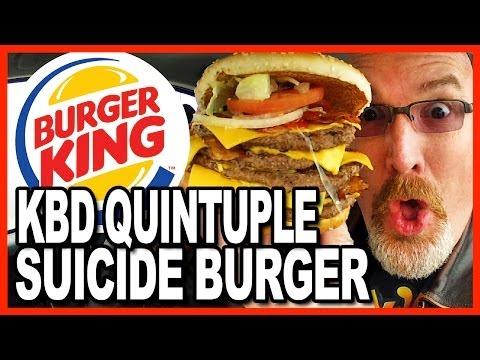 Burger King ★Secret Menu Item★ KBD Quintuple Suicide Burger Food Challenge