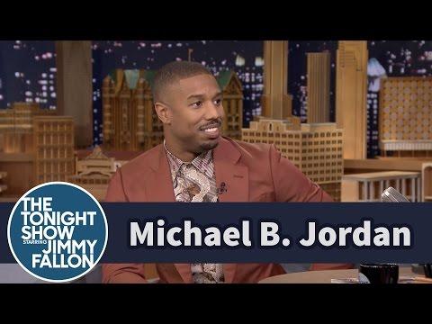 Michael B. Jordan Wears Vivienne Westwood Suit and Shirt on Jimmy Fallon