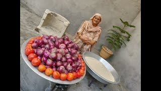 ONION RICE RECIPE BY MY GRANDMA | HEALTHY VILLAGE FOOD BY GRANDMA | VEG VILLAGE FOOD | RECIPES