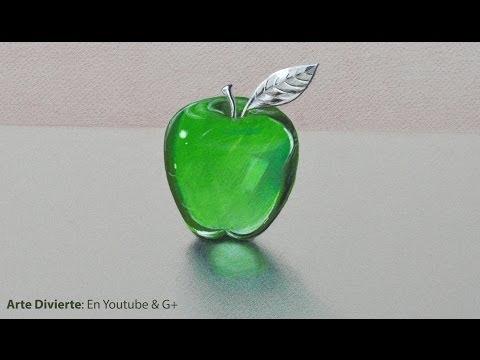 Cómo dibujar vidrio:una manzana de cristal y o acrílico verde Arte Divierte