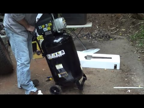 Harbor Freight 21 Gallon Vertical Compressor Review Unboxing - Assembly and Initial Review