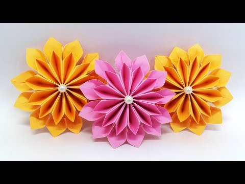 DIY Paper Flowers easy making tutorial (Origami Flower) - Paper Crafts Ideas
