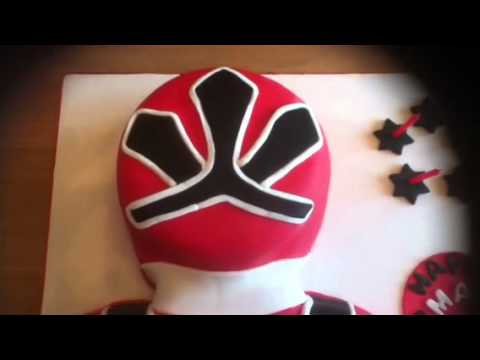 Red power ranger birthday cake