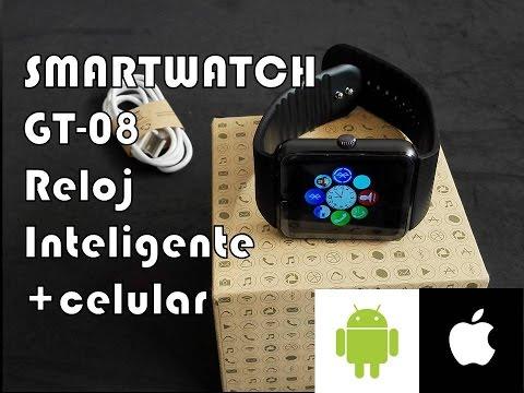 SMARTWATCH GT-08 Reloj Inteligente+celular 2en1 bajo costo. REVIEW EN ESPAÑOL LATINO