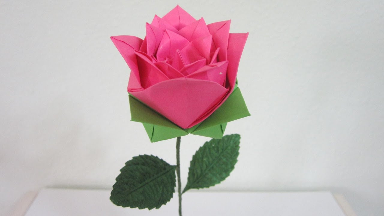 TUTORIAL - HOW TO MAKE AN ORIGAMI ROSE #2 - YouTube