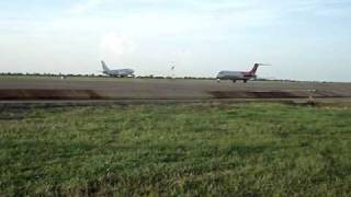 Aserca airlines gets ready to taxi while Rutaca takes off. SVPR