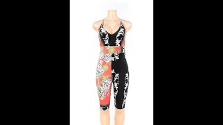 Summer Sexy Printed Deep V-Neck Backless Tight-Fitting Jumpsuits Wholesale