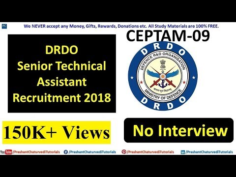 #DRDO CEPTAM-09 SENIOR TECHNICAL ASSISTANT RECRUITMENT 2018