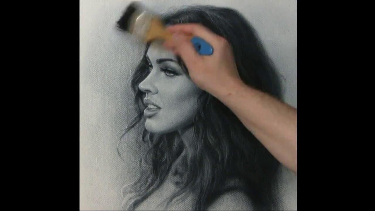 Portrait drawing Megan Fox. How to draw by dry brush.  Сухая кисть