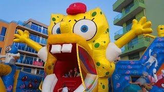 Outdoor playground for kids with BOB SPONGE, slides and more funny inflatable toys