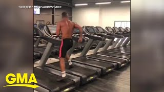 Athlete's crazy treadmill workout video is going viral l GMA