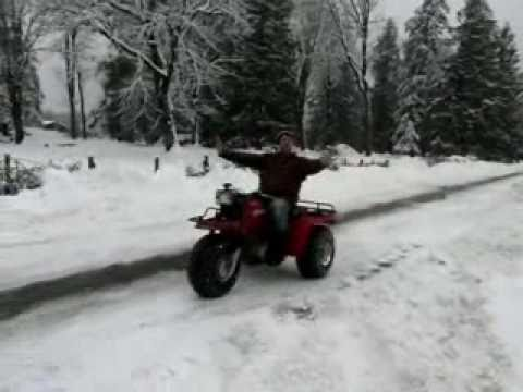 Honda ATC Trike  & Custom FatCat Bike - Donuts in Snow!!